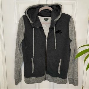 Roots Charcoal Grey Zip Up Hoodie Sweater Small
